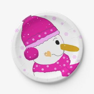 Pink Snowman 7 Inch Paper Plate