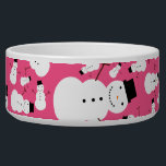 """Pink snowmen bowl<br><div class=""""desc"""">Cute cartoon snowman with black hat,  stick arms,  black buttons and an orange carrot nose,  with a pink background pattern background. Cute snowman gift ideas for kids and girls and boys. Cute christmas snowman gift ideas.</div>"""