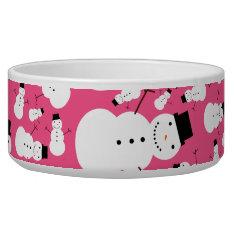 Pink Snowmen Bowl at Zazzle