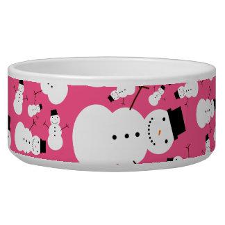 Pink snowmen bowl