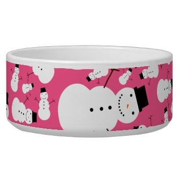 Christmas Themed Pink snowmen bowl