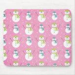 Pink Snowmen Mousepad