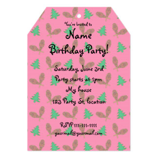 Pink snowshoe pattern 5x7 paper invitation card