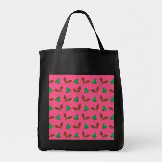 Pink snowshoe pattern canvas bags
