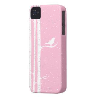 Pink Snowy Birch Trees iPhone 4 Case