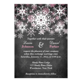 Pink Snowy Chalkboard Style Wedding Invitation