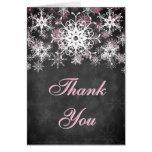Pink Snowy Chalkboard Wedding Thank You Card