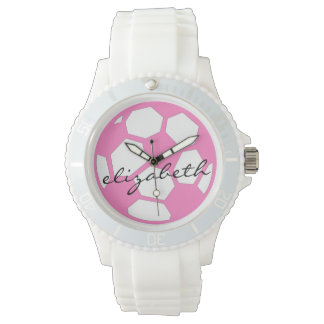 Pink Soccer Ball and Name Watch
