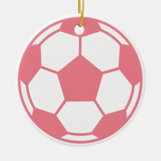 Pink Soccer Ball Ceramic Ornament