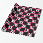 Pink soccer ball checkers gift wrap