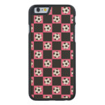 Pink soccer ball checkers carved® maple iPhone 6 slim case