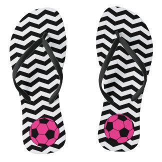 Pink Soccer Ball Chevron Flip Flops