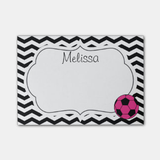Pink Soccer Ball Chevron Monogram Post-It Notes