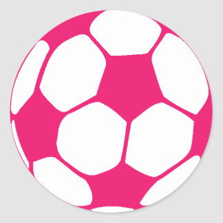 Pink Soccer Ball Classic Round Sticker
