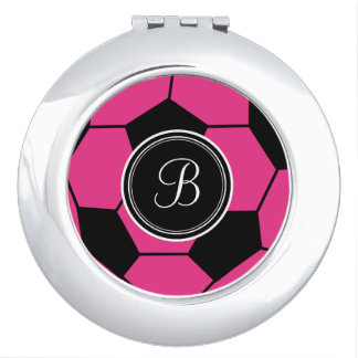 Pink Soccer Ball Monogram Compact Travel Mirror