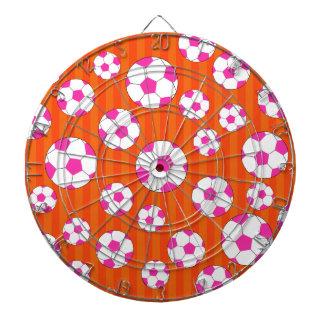 Pink soccer ball orange stripes dartboards