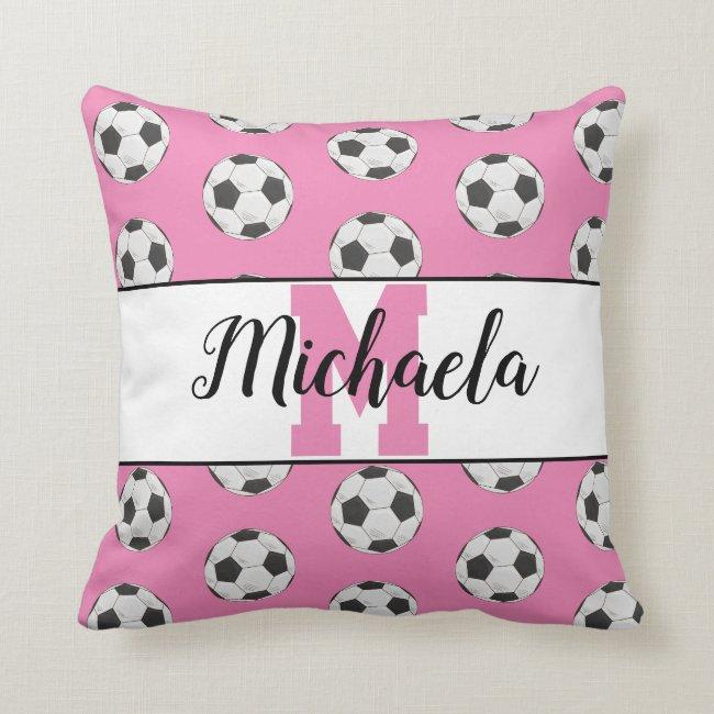 Pink Soccer Ball Pattern Monogram Initial Name Throw Pillow