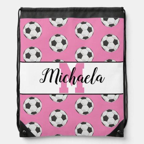 Pink Soccer Ball Pattern Monogram Player Name Drawstring Bag