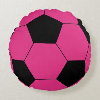 Pink Soccer Ball Round Throw Pillow