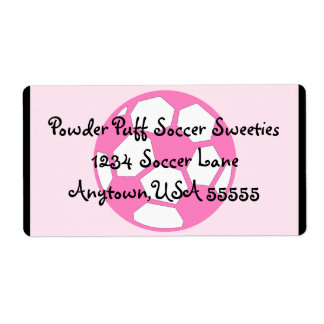 Pink Soccer Ball Shipping Label