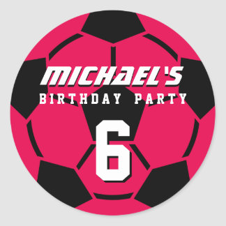 Pink Soccer Ball Sports Birthday Party Stickers