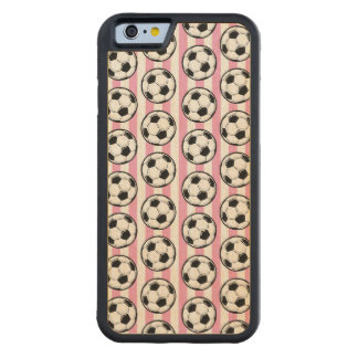 Pink Soccer Ball Stripes Carved Maple iPhone 6 Bumper Case