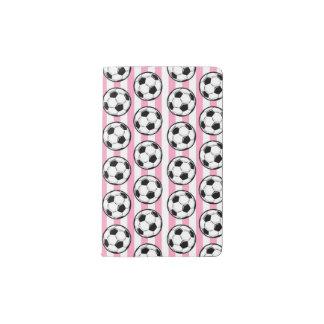 Pink Soccer Ball Stripes Pocket Moleskine Notebook