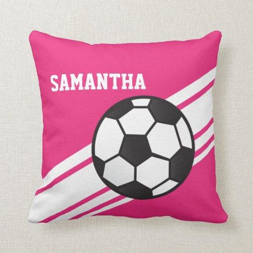 Pink Soccer Ball Stripes Throw Pillow