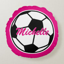 Pink soccer ball throw pillow for girls bedroom