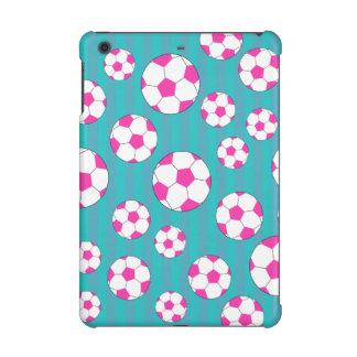 Pink soccer ball turquoise stripes iPad mini retina case
