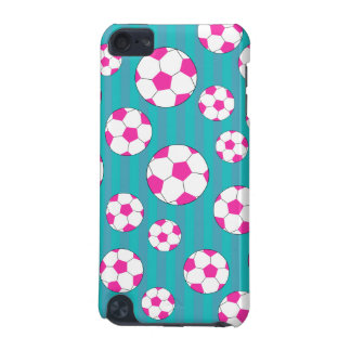 Pink soccer ball turquoise stripes iPod touch (5th generation) cover