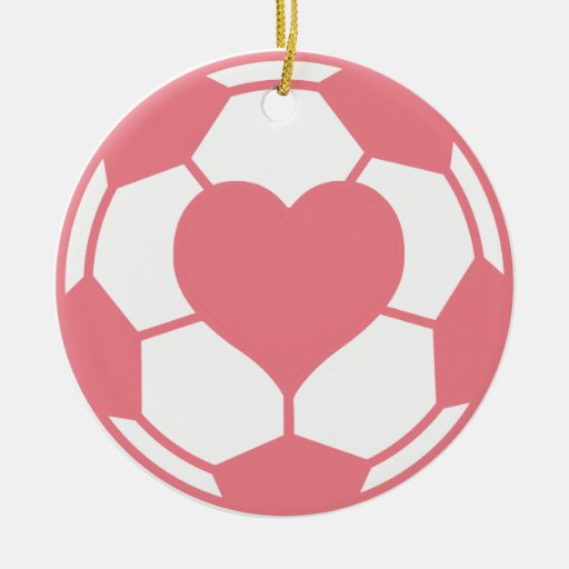 Pink Soccer Ball with Heart Christmas Ornaments