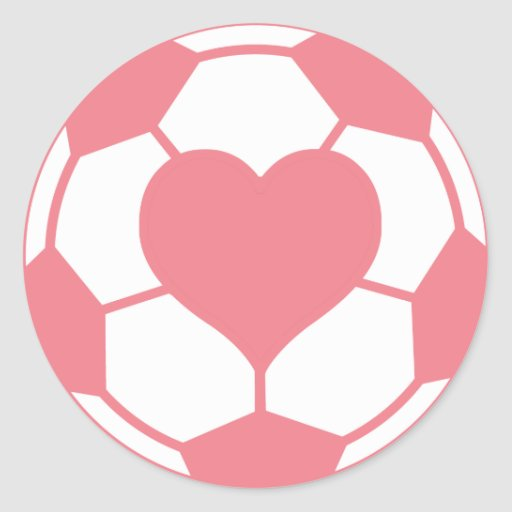Pink Soccer Ball with Heart Classic Round Sticker