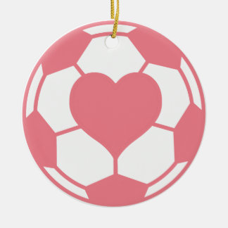 Pink Soccer Ball with Heart Double-Sided Ceramic Round Christmas Ornament