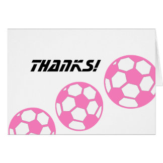 Pink Soccer Balls-Thanks! Stationery Note Card