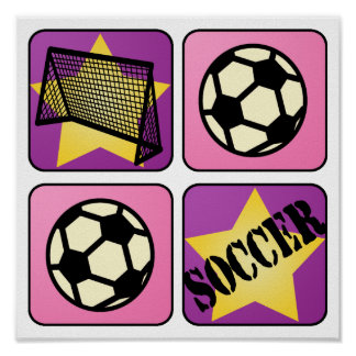 Pink Soccer Poster