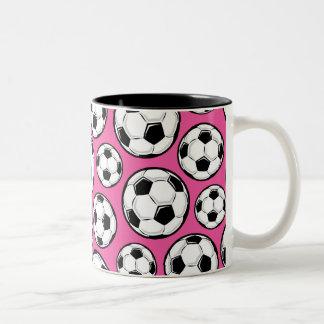 Pink Soccer Two-Tone Coffee Mug