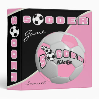 Pink Soccerball Game | Personalize Vinyl Binders
