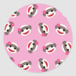 Pink Sock Monkey Classic Round Sticker
