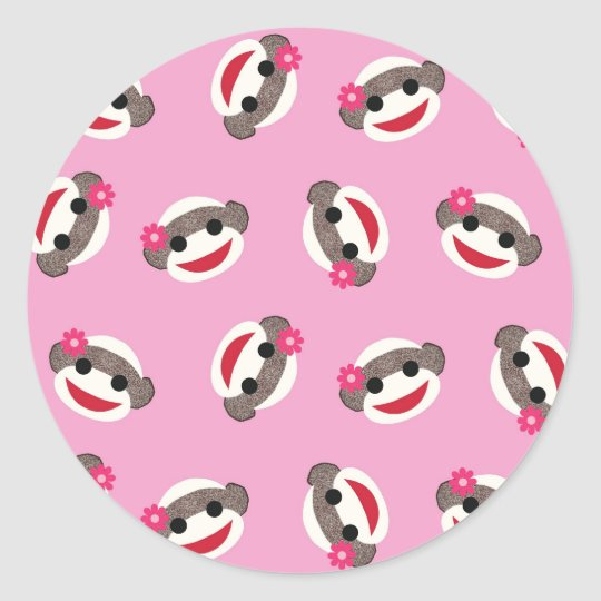Pink Sock Monkey Classic Round Sticker