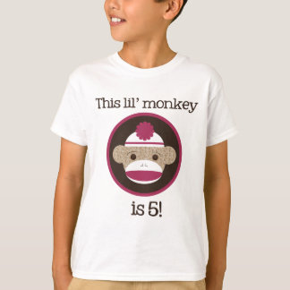 Pink Sock Monkey: Fifth Birthday Tee