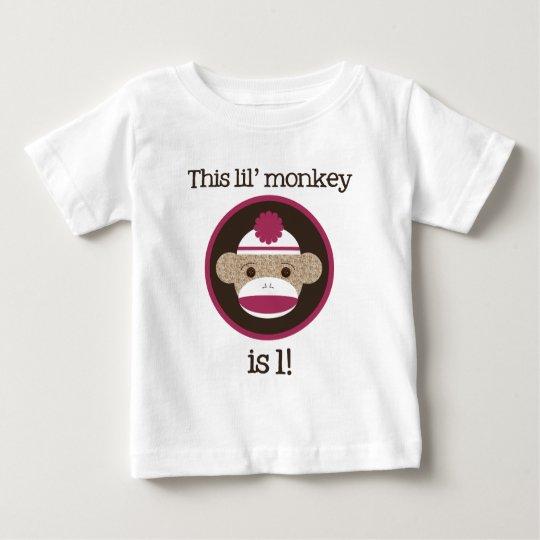 Pink Sock Monkey: First Birthday Baby T-Shirt