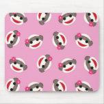 Pink Sock Monkey Flower Girl Mouse Pad