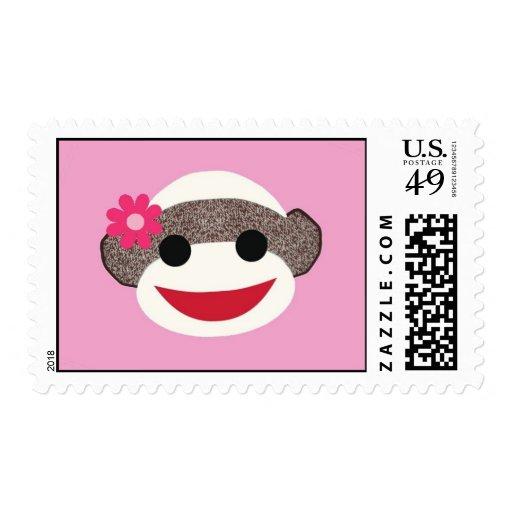 Pink Sock Monkey Flower Girl Postage