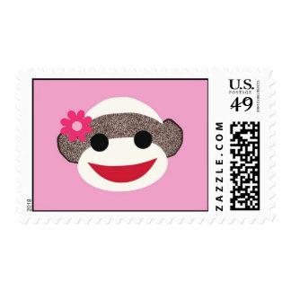 Pink Sock Monkey Flower Girl Stamps