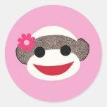 Pink Sock Monkey Flower Girl Round Sticker