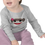 Pink Sock Monkey Flower Girl T Shirt