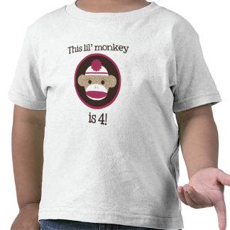 Pink Sock Monkey: Fourth Birthday Tee