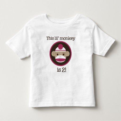 Pink Sock Monkey: Second Birthday Toddler T-shirt