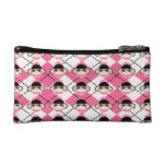 Pink Sock Monkeys on Pink White Argyle Diamond Cosmetic Bags